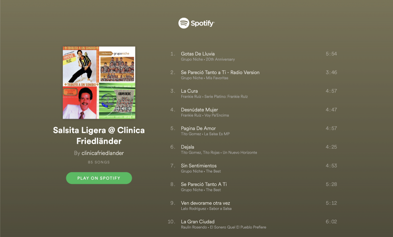 Nuestras PlayLists favoritas en Spotify  @clinicafriedlander 4
