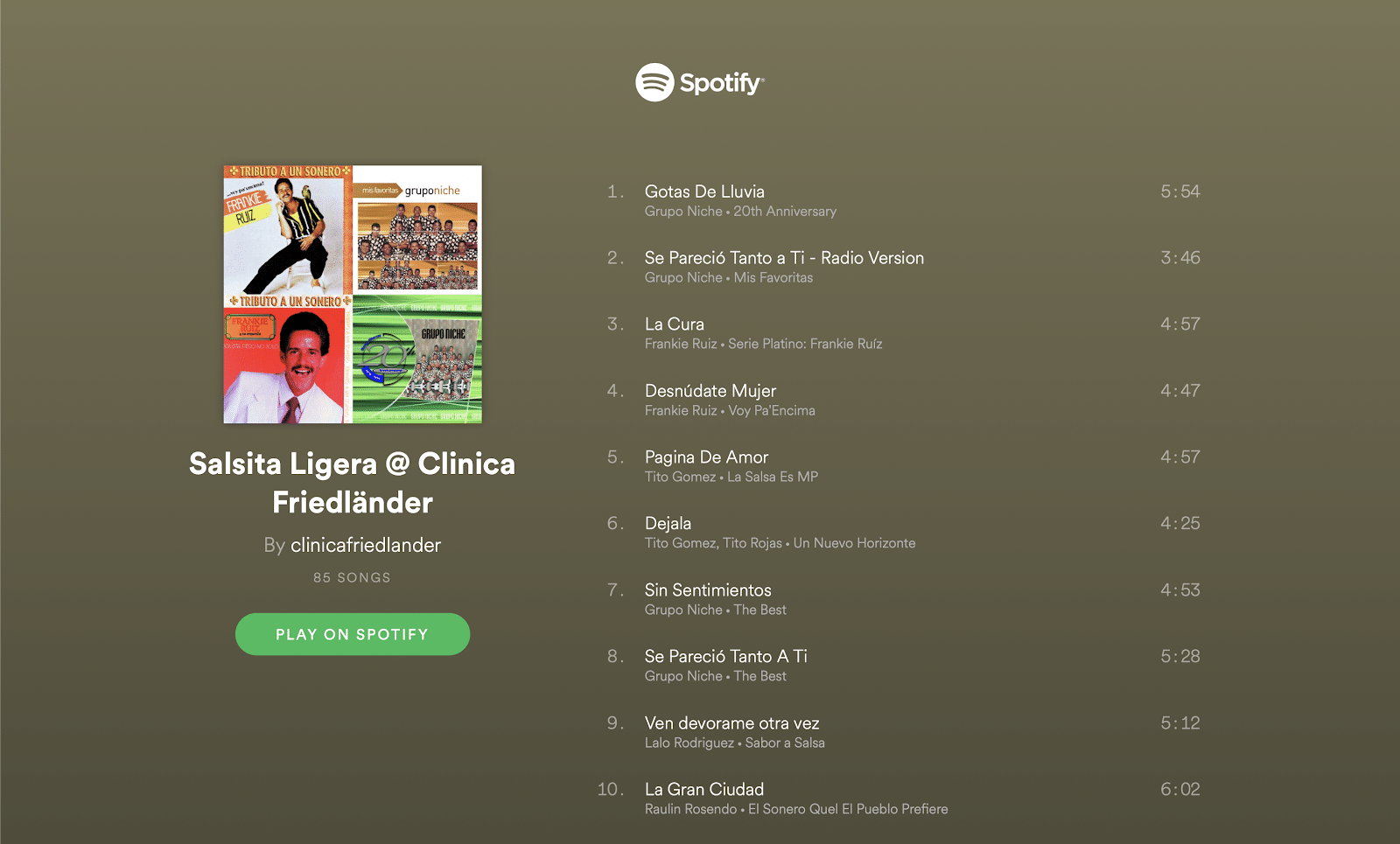 Nuestras PlayLists favoritas en Spotify  @clinicafriedlander 4